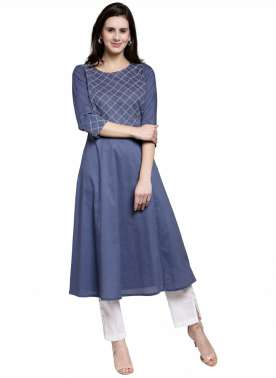 plusS Women Blue Yoke Design A-Line Kurta