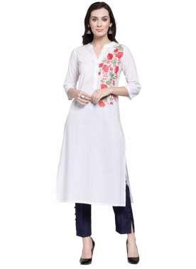 plusS Women White Solid A-Line Kurta