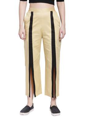 plusS Women Beige Straight Striped Palazzos
