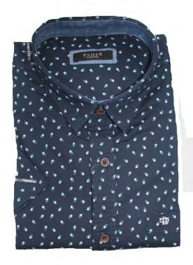 PlusS Mens Navy Printed Half Sleeve Casual Shirt