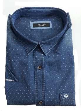 PlusS Men Blue Regular Fit Faded Denim Shirt