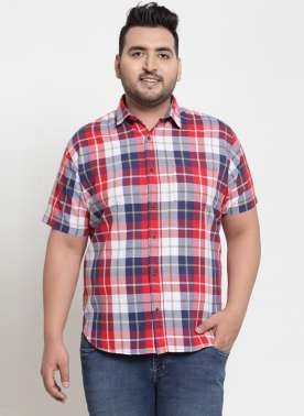 PlusS Men Red & Blue rRegular Fit Checked Casual Shirt