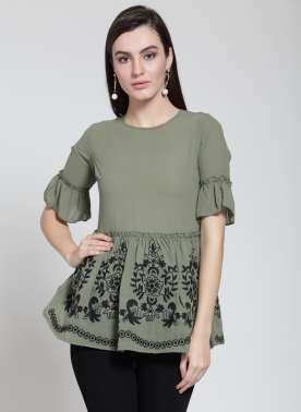 plusS Women Olive Green Printed Peplum Top
