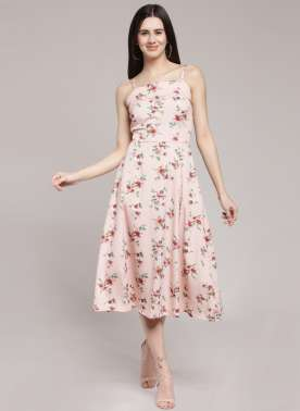 plusS Women Pink Printed Fit and Flare Dress