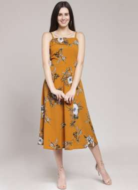 plusS Women Mustard Printed Fit and Flare Dress