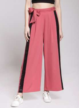 plusS Women Pink Flared Solid Palazzos