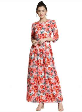 plusS Women Pink Printed Maxi Dress