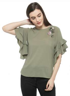 plusS Women Green Solid Top