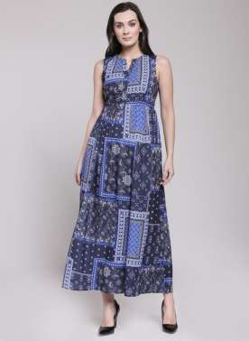 plusS Women Blue Printed Empire Dress