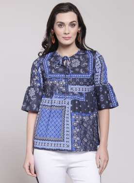 plusS Women Blue Printed A-Line Top