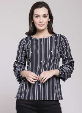 plusS Women Black & Off-White Striped Top