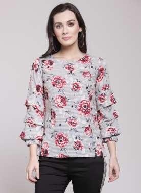plusS Women Black & White Floral Print Top