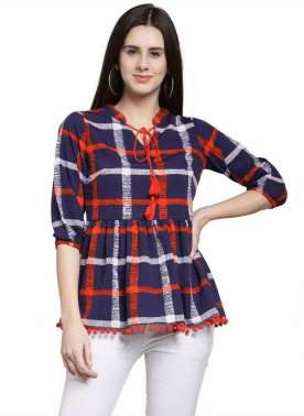 plusS Women Blue Checked Peplum Top