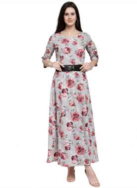 plusS Women Grey Printed Maxi Dress