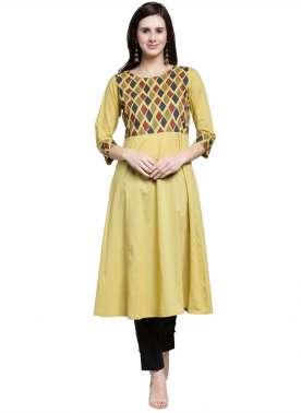plusS Women Yellow Solid A-Line Kurta