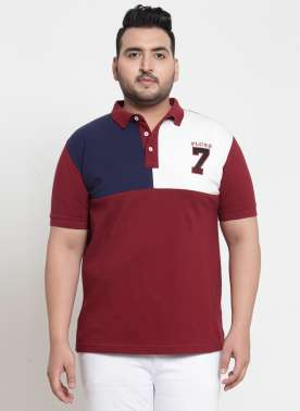 plusS Men Maroon Solid Polo Collar T-shirt