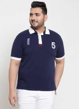 plusS Men Navy Solid Polo Collar T-shirt