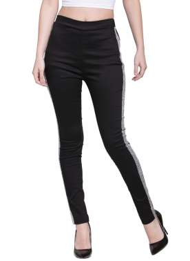 plusS Women Black Solid Regular Fit Treggings