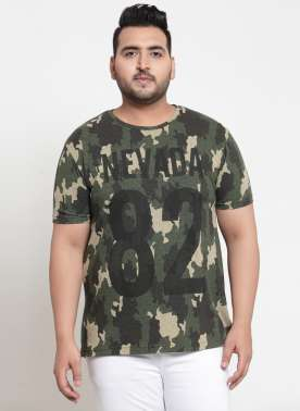 plusS Men Olive Green Printed Round Neck T-shirt