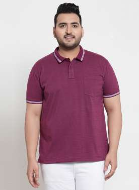 plusS Men Purple Striped Polo Collar T-shirt