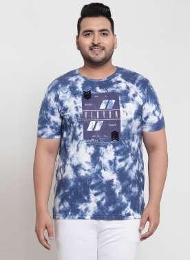 plusS Men Blue Dyed Round Neck T-shirt