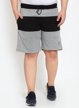 PlusS Mens Grey Melenge Regular Fit Shorts