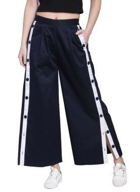 plusS Women Navy Blue Solid Flared Palazzos