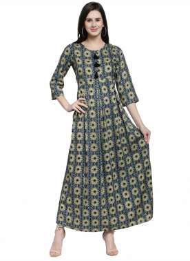 plusS Women Green Printed A-Line Kurta