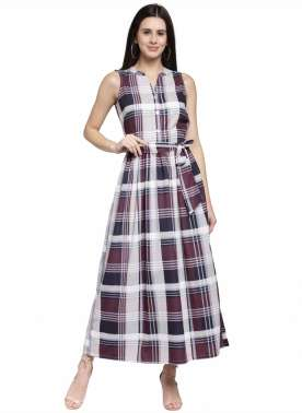 plusS Women Multicoloured Checked Maxi Dress