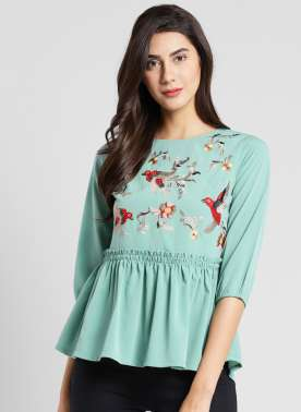 plusS Women Sea Green Self Design Peplum Top