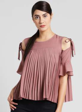 plusS Women Peach Solid Boxy Top