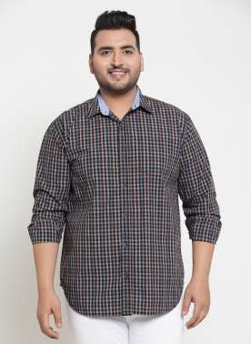 plusS Men Black & Grey Regular Fit Checked Casual Shirt