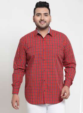 plusS Men Rust Red & Brown Regular Fit Checked Casual Shirt