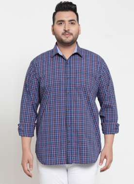 plusS Men Blue & Pink Regular Fit Checked Casual Shirt
