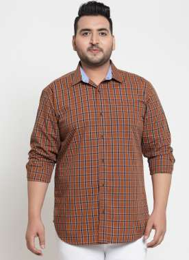 plusS Men Mustard & Black Regular Fit Checked Casual Shirt