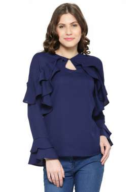 plusS Women Navy Blue Ruffle Top