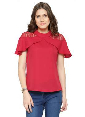 plusS Women Red Solid Top with Lace Trims