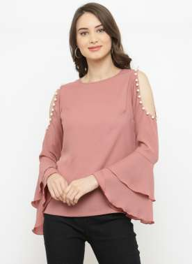plusS Women Pink Embellished Top