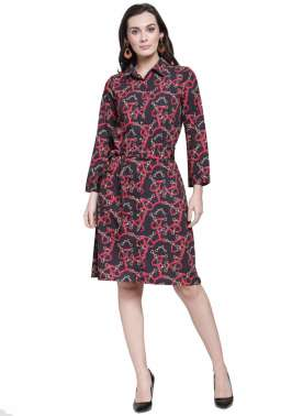 plusS Women Black Printed Shirt Dress