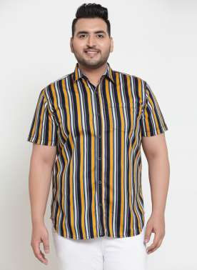 plusS Men Multicoloured Regular Fit Striped Casual Shirt