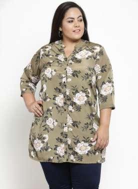 plusS Women Olive & Black Printed Tunic