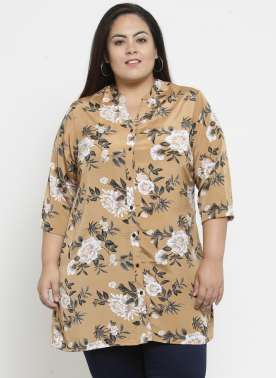 plusS Women Beige & Black Printed Tunic