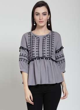 plusS Women Grey Embroidered Peplum Top