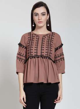 plusS Women Brown Self Design Empire Top
