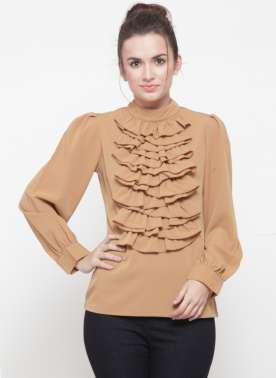 plusS Women Khaki Solid Top