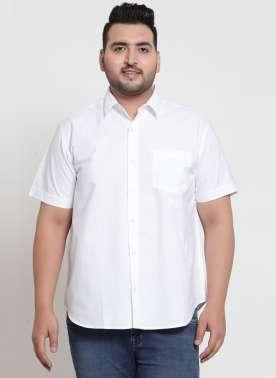 plusS Men White Regular Fit Solid Casual Shirt
