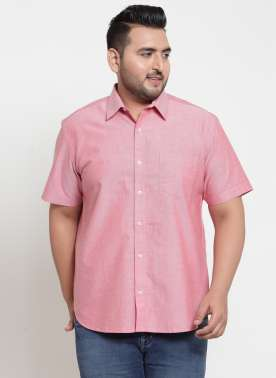 plusS Men Pink Regular Fit Solid Casual Shirt