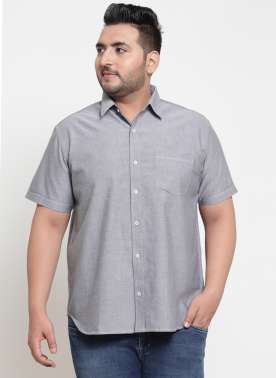 plusS Men Grey Regular Fit Solid Casual Shirt