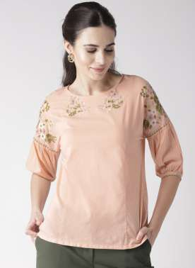 plusS Women Peach-Coloured Solid Top