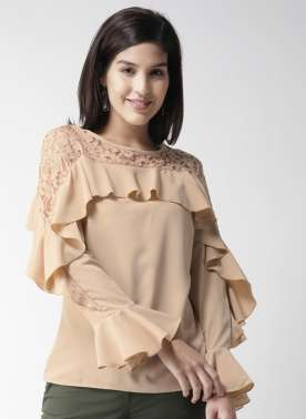 plusS Women Beige Layered Solid Top